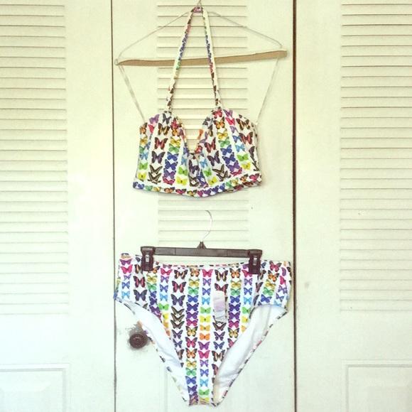 Forever 21 Multicolor Butteflies Plus Swimsuit